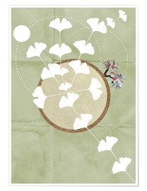 Premium poster GINGKO TREE BY 5 CLOCK EARLY