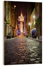Wood print  The famous Galata-Tower at night (Istanbul/Turkey) - gn fotografie