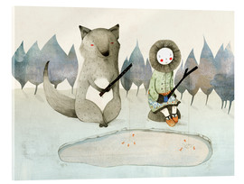 Acrylic print  The little Inuit girl and the wolf - Judith Loske