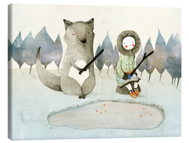 Canvas print  The little Inuit girl and the wolf - Judith Loske