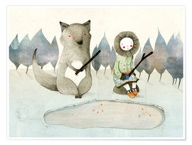 Poster  The Little Inuit Girl And The Wolf - Judith Loske