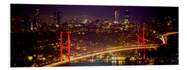 Foam board print  Bosporus-Bridge at night - red (Istanbul / Turkey) - gn fotografie