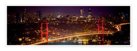 Premium poster Bosporus-Bridge at night - red (Istanbul / Turkey)