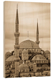 Wood print  the blue mosque in sepia (Istanbul - Turkey) - gn fotografie