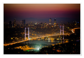 Premium poster  Bosporus-Bridge at night - pink (Istanbul / Turkey) - gn fotografie