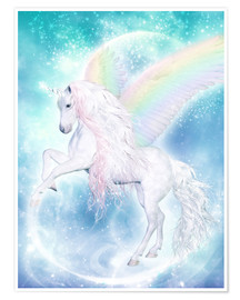 Poster  Rainbow Unicorn Pegasus - Dolphins DreamDesign