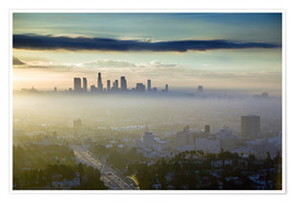Premium poster  LA skyline in the morning fog - Walter Bibikow