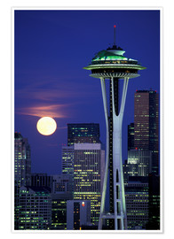 Premium poster  Space Needle at full moon - William Sutton