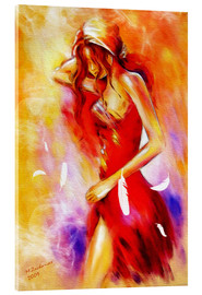 Acrylic print  Woman in red dress - Marita Zacharias