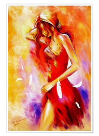 Premium poster Woman in red dress