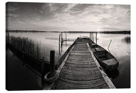 Canvas print  Wooden pier on lake, black and white - Frank Herrmann