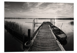Foam board print  Wooden pier on lake, black and white - Frank Herrmann