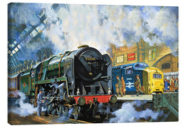 Canvas print  Evening Star, the last steam locomotive and the new diesel-electric Deltic - Harry Green