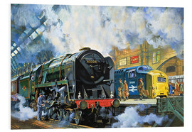 Foam board print  Evening Star, the last steam locomotive and the new diesel-electric Deltic - Harry Green