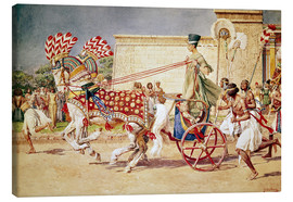 Canvas  Nefertiti in her royal chariot - Fortunino Matania