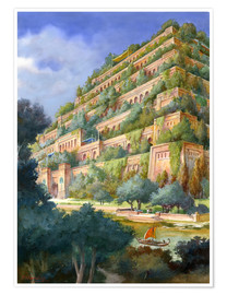 Premium poster  Hanging Gardens of Babylon - English School