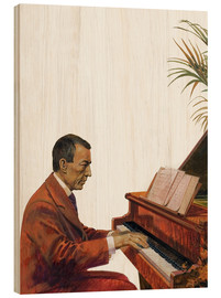 Wood print  Rachmaninoff playing the piano - Andrew Howat