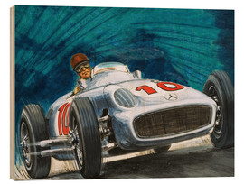 Wood print  Juan Manuel Fangio drives Mercedes-Benz - English School