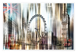 Premium poster London Skyline Collage blue Sky