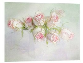 Acrylic glass  pretty pink roses - Lizzy Pe