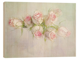 Wood print  pretty pink roses - Lizzy Pe