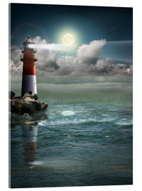 Acrylic print  Lighthouse by moonlight - Monika Jüngling