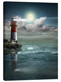 Canvas print  Lighthouse by moonlight - Monika Jüngling