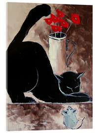 Acrylic print  Black cat and mechanical mouse - JIEL