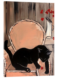 Acrylic print  Black cat with poppies - JIEL