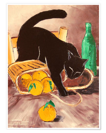 Premium poster  Black cat back from the market - JIEL