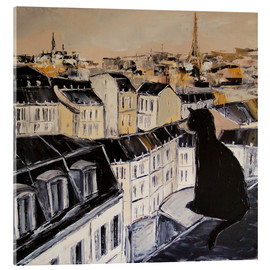 Acrylic print  Black cat on a roof in Paris - JIEL