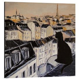 Alu-Dibond  Black cat on a roof in Paris - JIEL