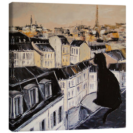 Canvas  Black cat on the roofs of Paris - JIEL