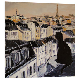 Foam board print  Black cat on a roof in Paris - JIEL