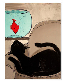 Premium poster Black Cat with Goldfish