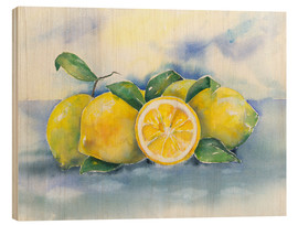 Wood print  Lemons - Jitka Krause