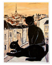 Premium poster Cats love over the rooftops of Paris