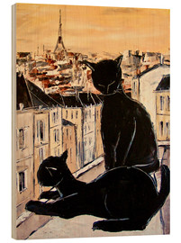 Wood print  Cats love over the rooftops of Paris - JIEL