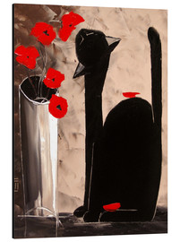 Aluminium print  BLACK CAT WITH POPPIES - JIEL