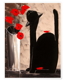 Premium poster BLACK CAT WITH POPPIES