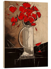 Wood print  Abstract Poppies - JIEL