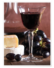 Premium poster  Cheese platter with wine - Edith Albuschat