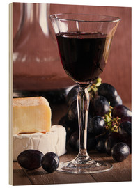 Wood print  Cheese platter with wine - Edith Albuschat