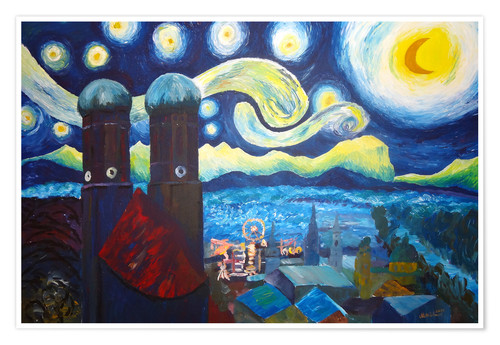 Premium poster Starry Night over Munich inspired by Vincent Van Gogh