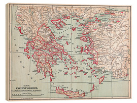 Wood print  Map of Ancient Greece