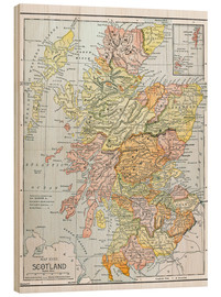 Wood print  Map of Scotland