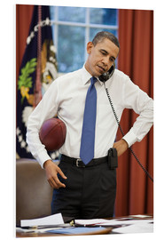 Foam board print  President Barack Obama talks on the phone
