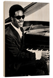 Wood print  Stevie Wonder at the piano
