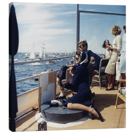 Canvas print  JFK and Jacqueline Kennedy sailing