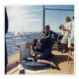 Premium poster  JFK and Jacqueline Kennedy sailing